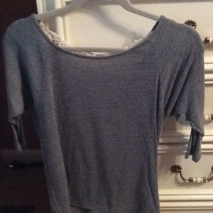 Tops - Shirt.  Olive green color with lace backing